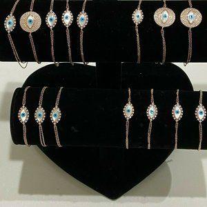 Sterling Silver Evil Eye Lot Of 15 Bracelets Sizes
